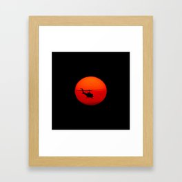 Vietnam Helicopter Sunset Framed Art Print