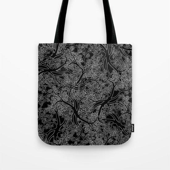 Tree Repeat Black Tote Bag