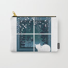 White Kitty Cat Window Watcher Carry-All Pouch