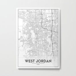 Minimal City Maps - Map Of West Jordan, Utah, United States Metal Print