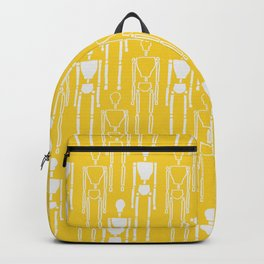 Mustard Yellow and White, Modern People Pattern. Backpack