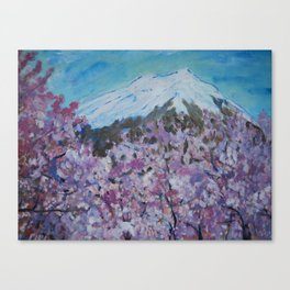 Flowers and snow Canvas Print