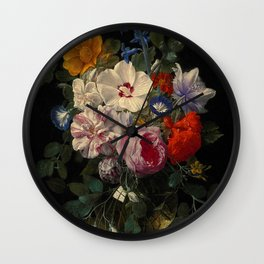 """Nicolaes van Veerendael """"Flowers in a glass vase with a butterfly and beetle on a stone ledge"""" Wall Clock"""