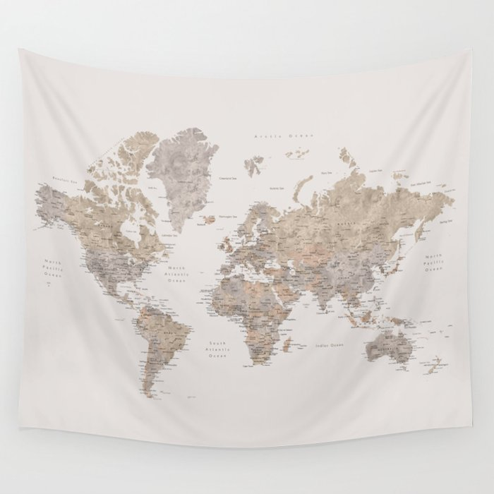 Cities Of The World Map.World Map With Cities In Brown And Light Gray Wall Tapestry By