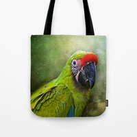 parrot Tote Bags featuring parrot by lucyliu