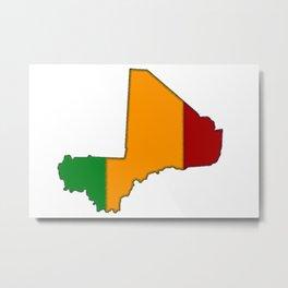 Mali Map with Malian Flag 2 Metal Print