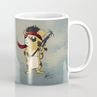 hamster Mugs featuring Hamster Rambo by Carrillo Art Studio
