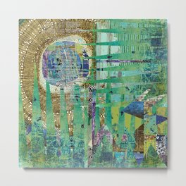Teal Brown Blue Seed Abstract Art Collage Metal Print