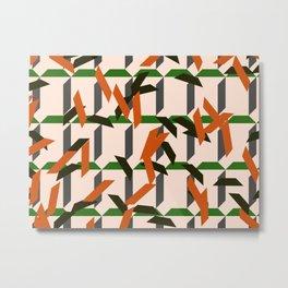 trapezoids grid pattern_salmon Metal Print