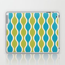 Classic Retro Ogee Pattern 852 Turquoise and Olive Laptop & iPad Skin