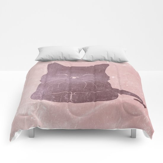 Happy purple cat illustration on pink for girls Comforters