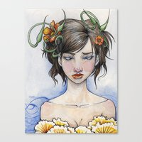 three of the possessed Canvas Prints featuring Possessed By Beauty by Rin Ascher