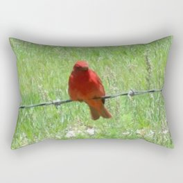 Red Summer Tanager on Barbed Wire Fence Rectangular Pillow