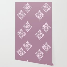 Scroll Damask Art I Pink on Mauve Wallpaper