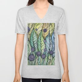 Dandelions.Hand draw  ink and pen, Watercolor, on textured paper Unisex V-Neck