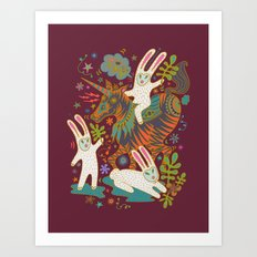 Three Rabbits and a Unicorn Art Print