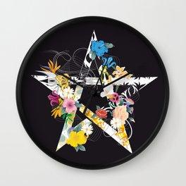 Pentagram with flowers Wall Clock