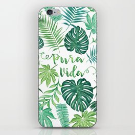 Tropical Pura Vida Palm Leaves and Monstera Watercolor iPhone Skin