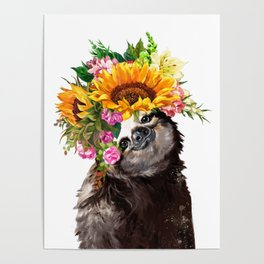 Sloth with Sunflower Crown Poster