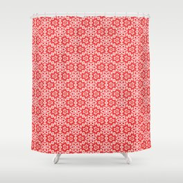 Red Pink and White Mini Mandala Abstract Flowing Floral Dotted Spirit Organic Shower Curtain