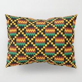 Green, Dark Red, Yellow Gold Kente Cloth on Black Pillow Sham