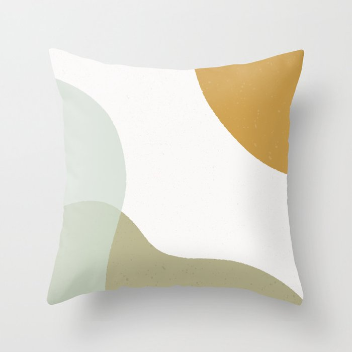 Abstract Shapes Illustration - Green Throw Pillow