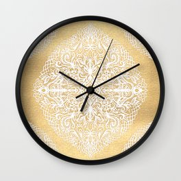 White Gouache Doodle on Gold Paint Wall Clock
