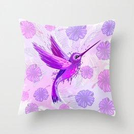 Hummingbird Spirit Purple Watercolor Throw Pillow