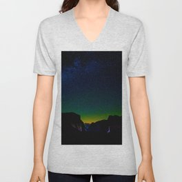 Starry Night Sky Stars Landscape Silhouette Colorful Green Turquoise Sky Ombre Unisex V-Neck