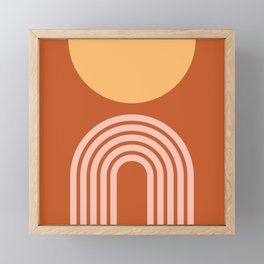 Geometric Lines in Rose Gold Terracotta 2 (Rainbow and Sun Abstract) Framed Mini Art Print