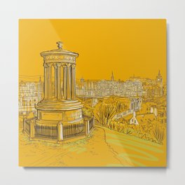 Edinburgh Skyline (yellow version) Metal Print