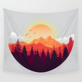 The Adventurer - mountain landscape illustration Wall Tapestry