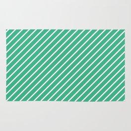Diagonal Lines (White/Mint) Rug