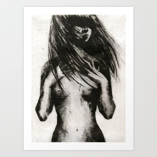 Girl Etching 4 Art Print