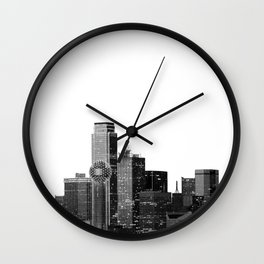 Dallas Texas Skyline in Black and White Wall Clock