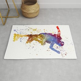 Man roller skater inline 02 in watercolor Rug