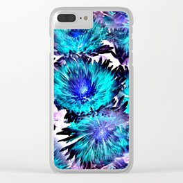 Turquoise Purple Abstract Flowers Clear iPhone Case