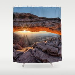 Mesa Arch Sunburst  by Lena Owens Shower Curtain