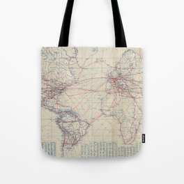 Vintage World Air Travel Map (1919) Tote Bag