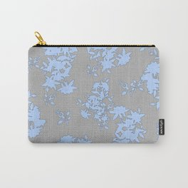 Pale Blue Floral Pattern on Medium Grey Burlap Texture Vector Art Carry-All Pouch