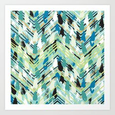 Chevron print with colorful stripes and lines Art Print