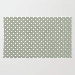 Classic Small White Polka Dot Spots on Desert Sage Grey Green Rug