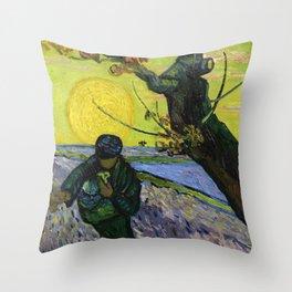 1888-Vincent van Gogh-The sower-32x40 Throw Pillow