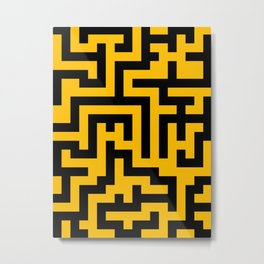 Black and Amber Orange Labyrinth Metal Print