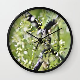Blades Of Grass On Wire Fence Wall Clock