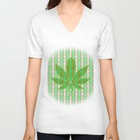 marijuana V-neck T-shirts featuring Marijuana Leaf by Trusty Russ Tees