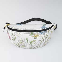 wild flowers and blue bird _ink and watercolor 1 Fanny Pack