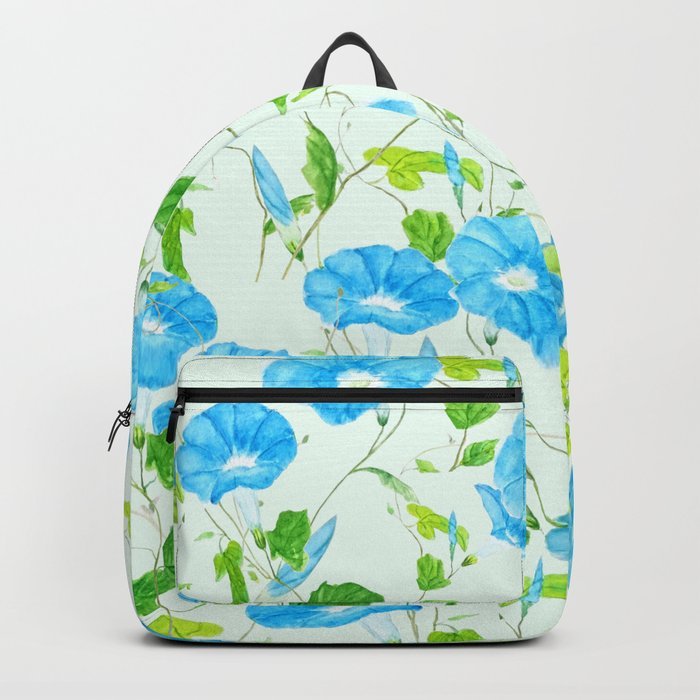 blue morning glory pattern Backpack