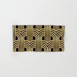 3-D Art Deco Sultry Cuban Nights Gold Pattern Hand & Bath Towel