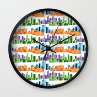 cities Wall Clocks featuring Australian Cities by S. Vaeth
